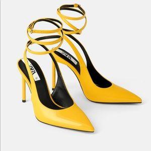 Zara Yellow Patent Heels